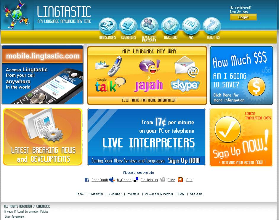 L'écran d'accueil du service de traduction Lingtastic